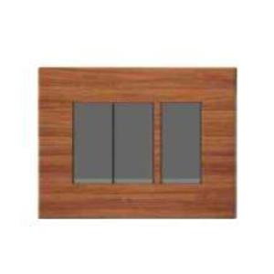 Polycab Caprina Levana 8 Module Horizontal Natural Wood Wooden Finish Cover Plate, SLV0900810