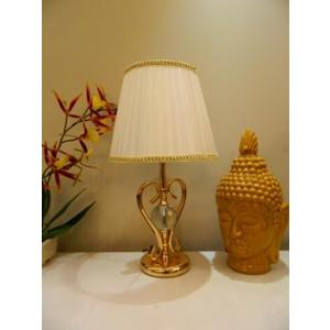 Tucasa Metal Classic Table Lamp with Off White Satin Shade, P7-L