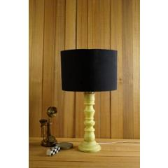 Tucasa Mango Wood Classic Yellow Table Lamp with 11.5 inch Polycotton Black Drum Shade, WL-288