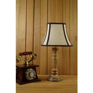 Tucasa Mango Wood Royal Brown Table Lamp with 10 inch Polycotton Stripe Square Shade, WL-248