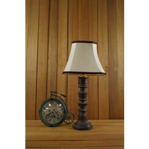 Tucasa Mango Wood Grey Table Lamp with 10 inch Polycotton Off White Square Shade, WL-152