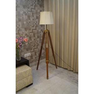 Tucasa Mango Wood Brown Tripod Floor Lamp with Polycotton Off White Shade, P-84