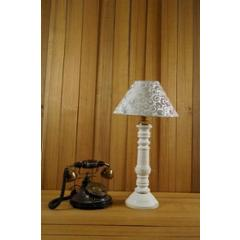 Tucasa Mango Wood White Table Lamp with 10 inch Polycotton White Silver Pyramid Shade, WL-121