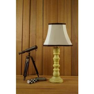 Tucasa Mango Wood Vintage Yellow Table Lamp with 10 inch Polycotton Off White Square Shade, WL-271