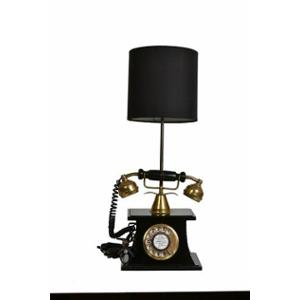Tucasa Mango Wood Vintage Telephone Lamp with Polycotton Black Shade, TL-03