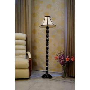 Tucasa Mango Wood Black & Silver Floor Lamp with Stripe Conical Polycotton Shade, WF-35