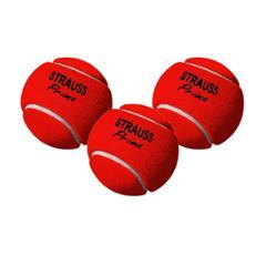 Strauss Red Rubber Light Weight Cricket Tennis Ball, ST-1549 (Pack of 3)