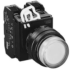 Idec 22mm 12V Maintained Extended Amber Incandescent Illuminated Pushbutton, YW1L-A2E01Q6A