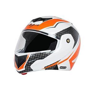 Vega Crux DX Checks Dull White & Orange Full Face Helmet, Size: M