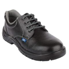 Allen Cooper AC-7002 Leather Steel Toe Black Safety Shoes, Size: 6