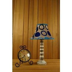 Tucasa Mango Wood Old White Table Lamp with 12 inch Polysilk Blue Circle Shade, WL-188