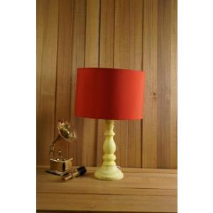 Tucasa Mango Wood Vintage Yellow Table Lamp with 11.5 inch Polycotton Red Drum Shade, WL-283