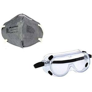 3M 1621 Poly Carbonate Grey Combo of Safety Goggles & Mask for Chemical Splash
