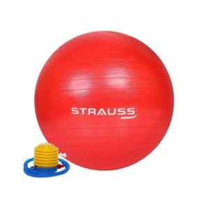 Strauss 75cm Red PVC Anti Burst Gym Ball with Foot Pump, ST-1483