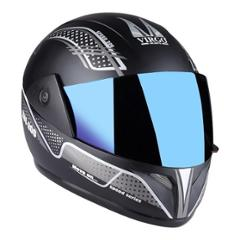 Virgo ZDI200Speed Full Face Black Matt Helmet with Blue Visor & Silver Sticker, Size (Medium, 58 cm)