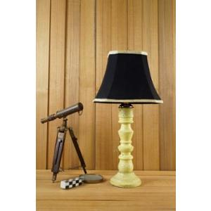 Tucasa Mango Wood Vintage Yellow Table Lamp with 10 inch Polycotton Black Square Shade, WL-273