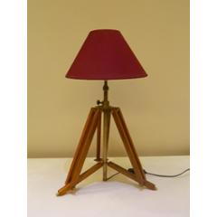 Tucasa Mango Wood Brown Tripod Table Lamp with Polycotton Maroon Shade, P-5