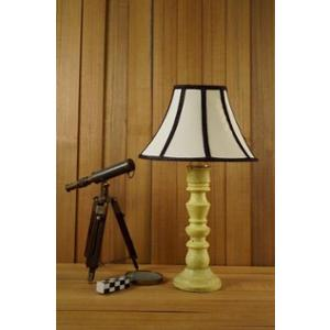 Tucasa Mango Wood Vintage Yellow Table Lamp with 12 inch Polycotton Stripe Conical Shade, WL-276