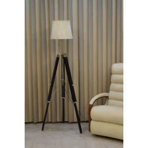 Tucasa Mango Wood Black Tripod Floor Lamp with Polycotton Off White Shade, P-133