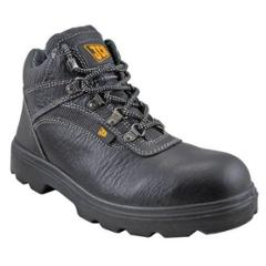 JCB Excavator Black Steel Toe Safety Shoes, Size: 6
