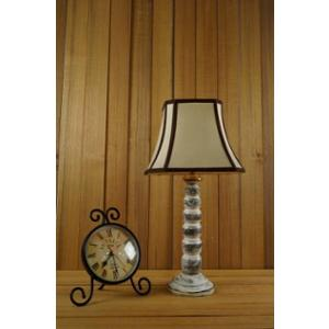 Tucasa Mango Wood Old White Table Lamp with 12 inch Polycotton Stripe Square Shade, WL-189