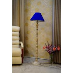 Tucasa Classic White Mango Wood Floor Lamp with Blue Conical Polycotton Shade, WF-87