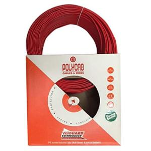 Polycab 6 Sqmm 180m Red Single Core FRLF Multistrand PVC Insulated Unsheathed Industrial Cable