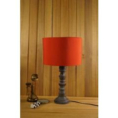 Tucasa Mango Wood Grey Table Lamp with 11.5 inch Polycotton Red Drum Shade, WL-299