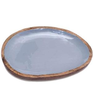 Casa Decor Grey Grace Enamel Wooden Decorative Serving Tray for Dinner Serving, CDWTRY0014