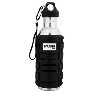 Strauss 600ml Black Stainless Steel Water Bottle, ST-1324