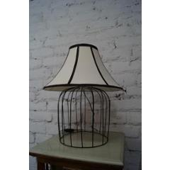 Tucasa Superb Metal Wire Table Lamp with Off White Polycotton Shade, TB-04