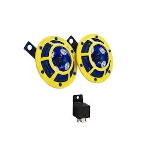 Hella Yellow Panther Bike Horn Set with Relay For Bajaj Pulsar 150 DTSi Type 3