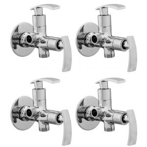 Snowbell Soft Brass Chrome Plated 2-in-1 Angle Faucets (Pack of 4)