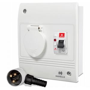 Havells 20A SPN Plug & Socket with Plastic Cover, DHDCUSN020