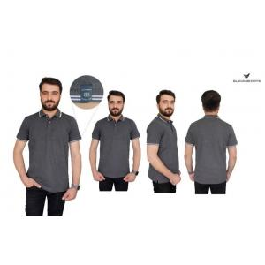 Blackberrys Charcoal Gray Customized T-shirt with White Tipping & Placket, Size: S