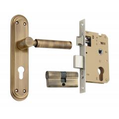Spider Brass Mortice Lock Set with 3 Key, FB11SAB + SCLCA