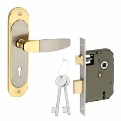 Sardar 8 Inch Silver & Gold Mortise Door Lock Set, BMH 322