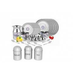 Airan 37 Pieces Stainless Steel Dinner Set with Free Tea, Sugar & Coffee Container