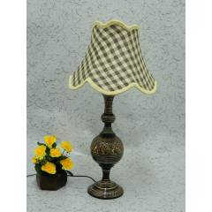 Tucasa Classic Brass Carving Table Lamp with Check Jute Shade , LG-974