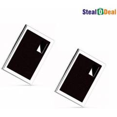 Stealodeal Brown Luxury Steel Aluminum Card Holder (Pack of 2)