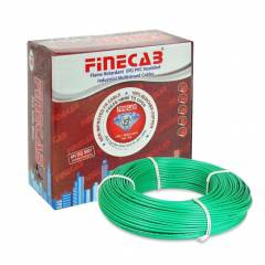 Finecab 6.0 Sq mm Green PVC Insulated Single Core FR Wire, Length: 90 m