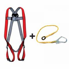 Allen Cooper Red Full Body Polypropylene Harness with 1.8m Rope Lanyard, 1011009_PP16_RLPP206