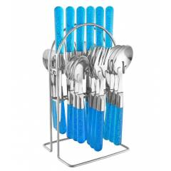 Elegante 24 Pieces Maple Blue Stainless Steel & Plastic Cutlery Set, SL-137B