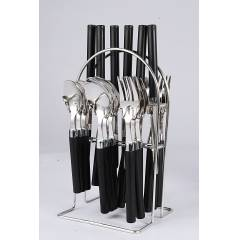 Elegante 24 Pieces Opera Black Stainless Steel & Plastic Cutlery Set, SL-130B