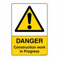 Safety Sign Store Danger: Construction Work In Progress Sign Board, SS205-A5PC-01