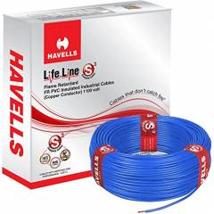 Havells 1 Sq. mm Single Core Life Line Plus S3 Blue HRFR PVC Flexible Cables, WHFFDNBA11X0, Length: 90 m