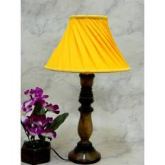 Tucasa Classic Wooden Table Lamp with Pleated Yellow Shade, LG-777