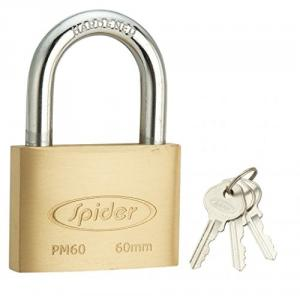 Spider 60mm Cylindrical Solid Brass Pad Lock with 3 Keys, PM60