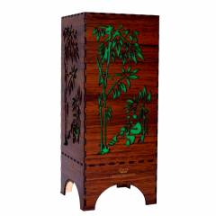 Dizionzrio DTBLPBR Green Handicrafts Wooden Look Hand Made Night Table Lamp