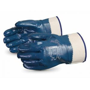 Ufo 120g Heavy Duty Full dripped Palm Nitrile Coated Blue Safety Gloves, Size: XL